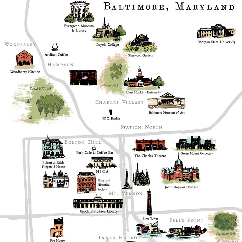Blog Post September 2016 Baltimore, Maryland map by Laura Shema for Jolly Edition.