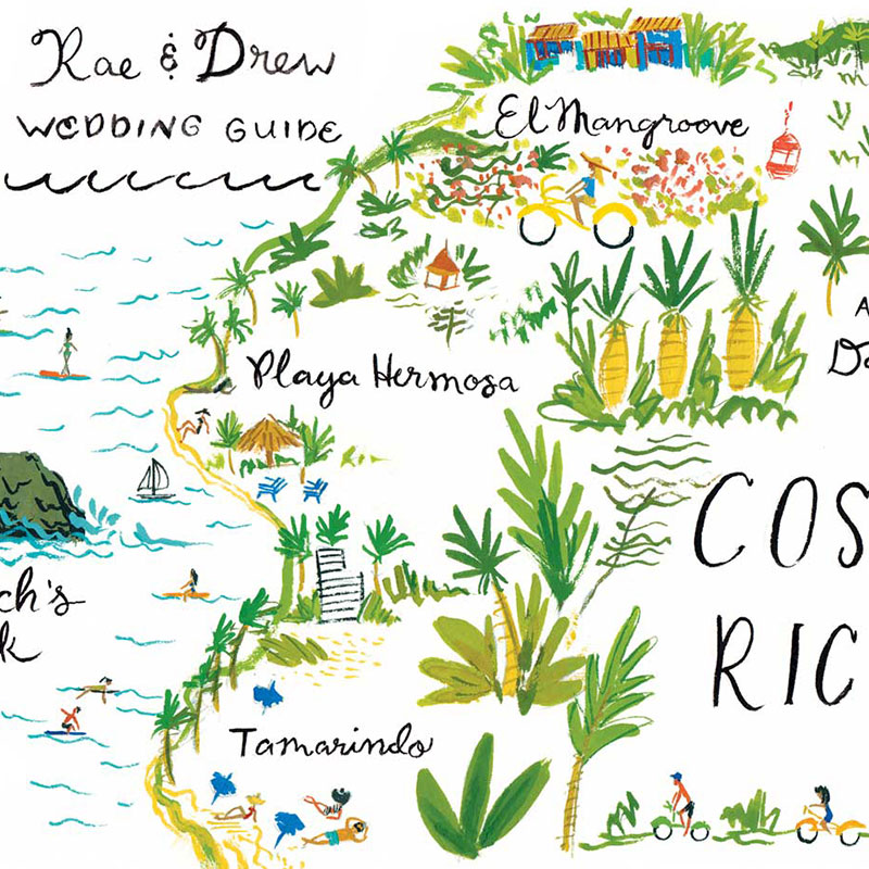 Blog Post September 2016 Coasta Rican wedding invitation and map by Laura Shema for Jolly Edition.