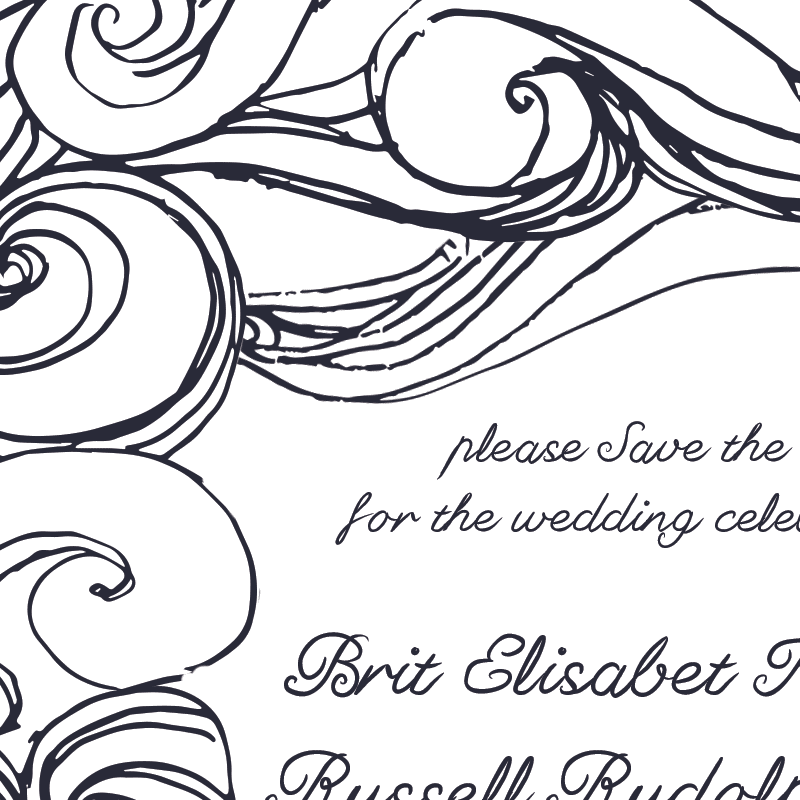 Brit and Russ' custom save the date design by Jolly Edition