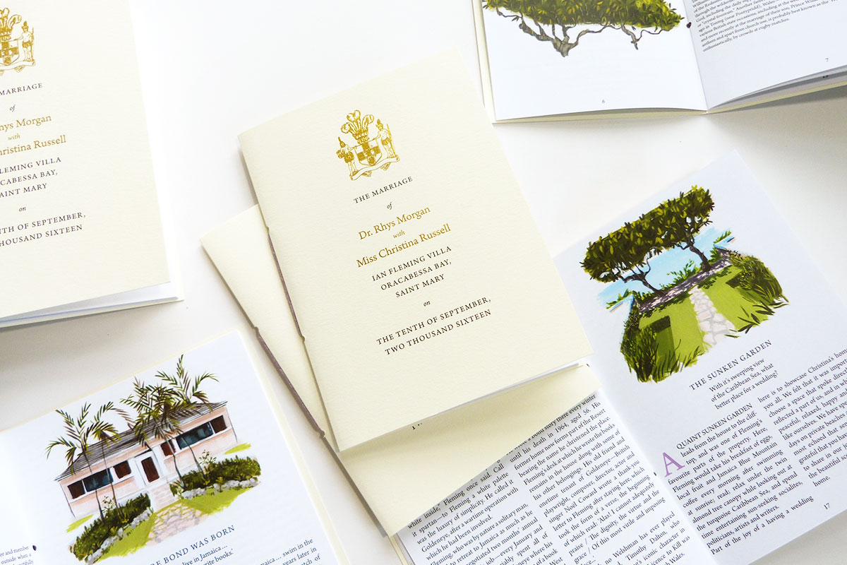 Gold foil cover and illustrated program for Jamaican and Welsh wedding by Laura Shema