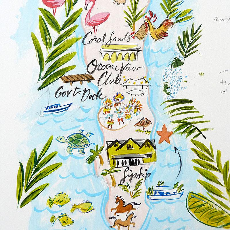 Blog Post November 2016 tropical island map painting by Laura Shema