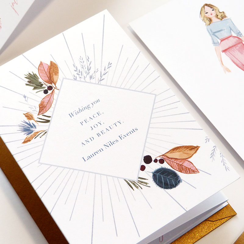 Blog Post December 2016 wedding event planner Lauren Niles holiday card illustrated and by Laura Shema designed