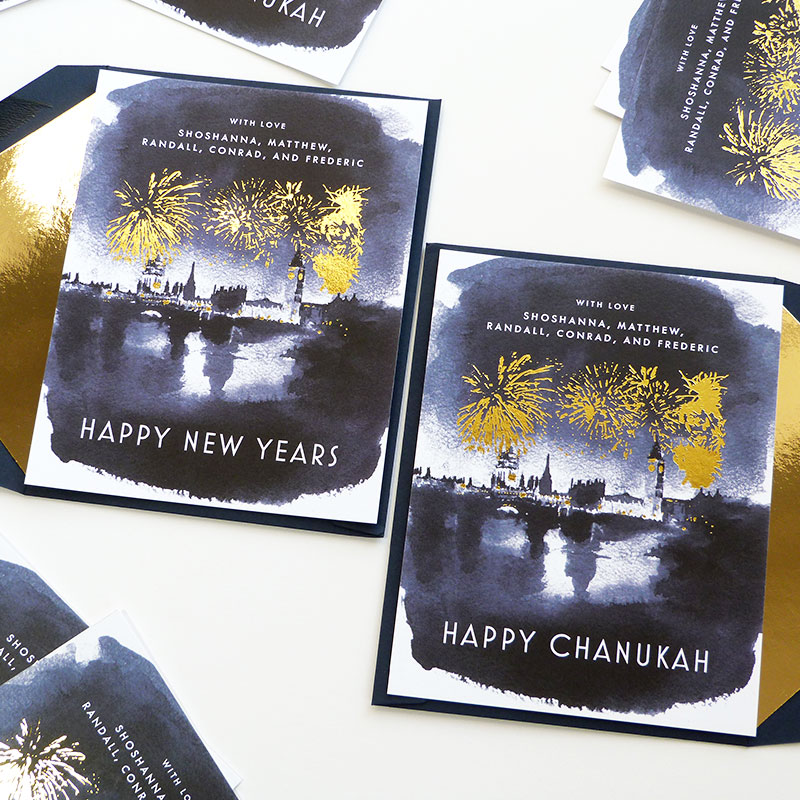 Blog Post December 2016 gold foil indigo ink New Years and Chanukah fireworks celebration by Laura Shema for Jolly Edition.