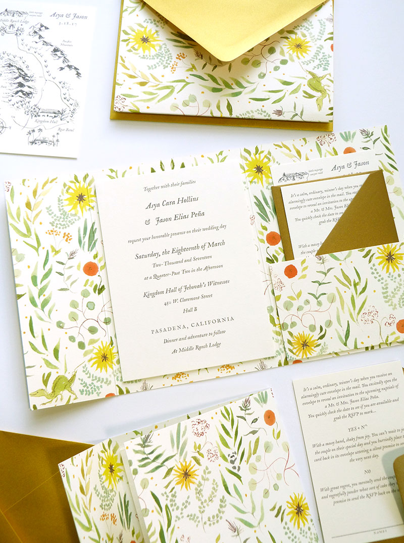 tri-fold, mounted invitation with patterns, and metallics by Laura Shema