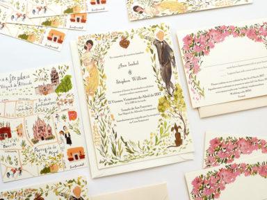 Mexican Downton Abbey described wedding invitations by Laura Shema