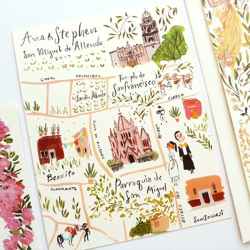 Mexican Downton Abbey described wedding invitations by Laura Shema