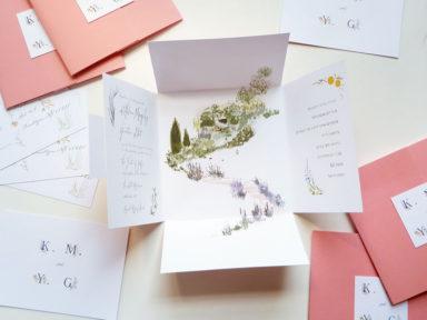 dusty pink wedding invitation, square fold out format, clasp enclosure, Israeli wedding