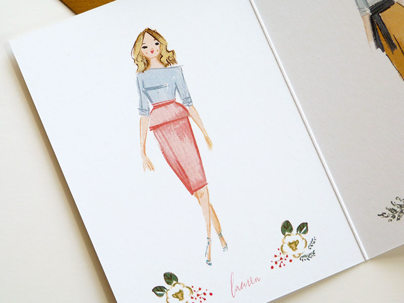 wedding event planner Lauren Niles holiday card illustrated and by Laura Shema