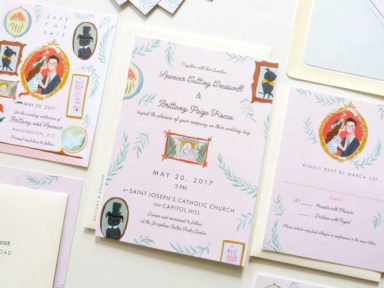Brittany & Spencer illustrated pastel wes anderson inspired wedding stationery