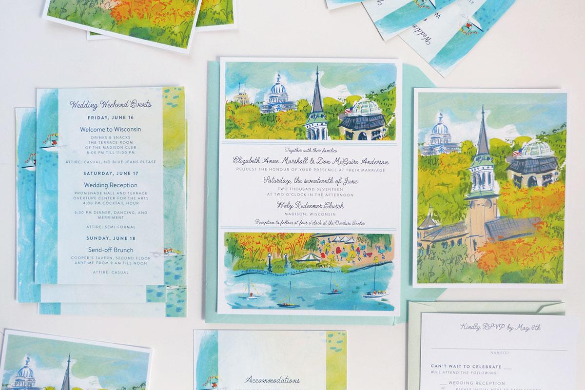 custom illustrated wedding invitation, rsvp, details card, Madison, Wisconsin