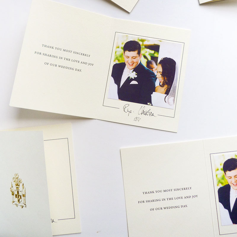 Jolly Edition Blog Post June 2017 custom wedding thank you cards with gold foil and photographs