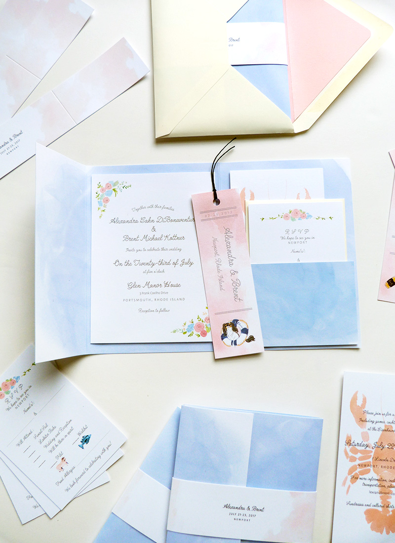 Jolly Edition Blog Post May 2017 custom wedding invitation, folding cover with pocket for custom bookmark, RSVP, details card and rehearsal dinner card. Airy periwinkle and pink coral palette.