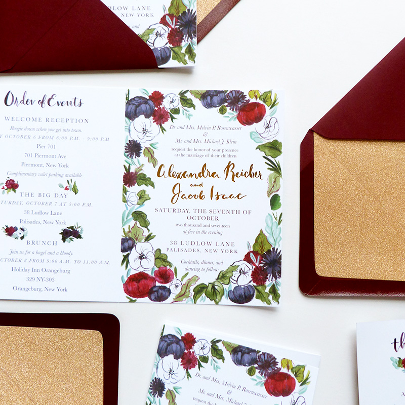 Jolly Edition Blog Post July 2017 wedding invitation, fold-out invitation, gold foil letterpress, autumnal burgundy, wines, dahlias.