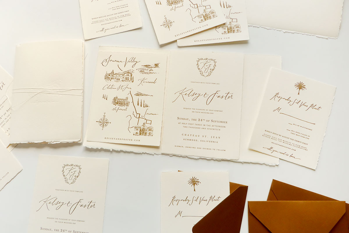 Sonoma wedding invitation, letterpress hand-torn edges, cover wrap with blind embossing of venue Chateau St. Jean