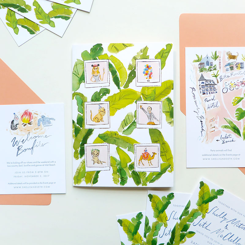 Jolly Edition Blog Post July 2017 tropical, fun wedding invitation, palms, Gray Malin inspired invitation set, invite, wedding map, brunch card, bonfire card.