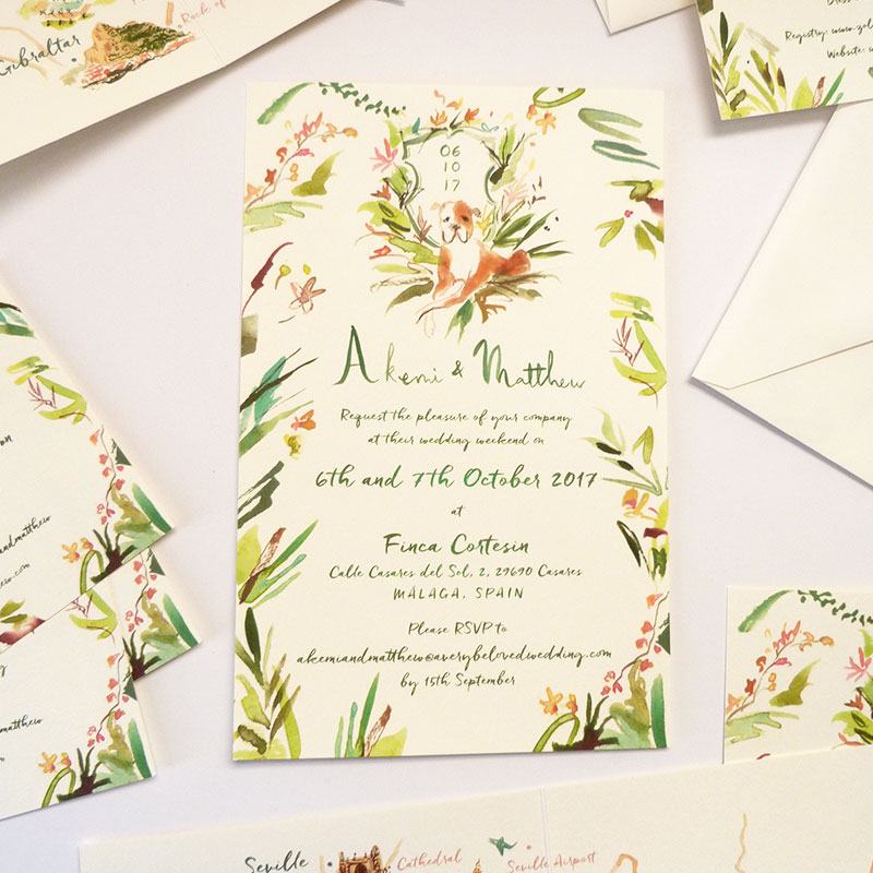 Jolly Edition Blog Post September 2017, Spanish wedding invitation, rsvp and map.