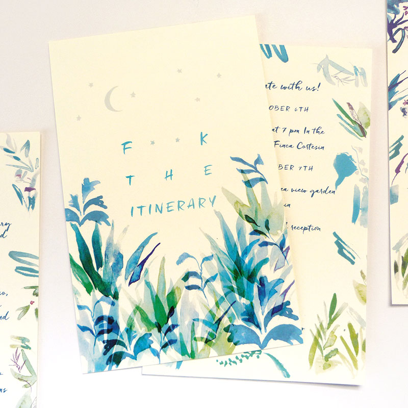 Jolly Edition Blog Post September 2017, blue watercolor program and menu