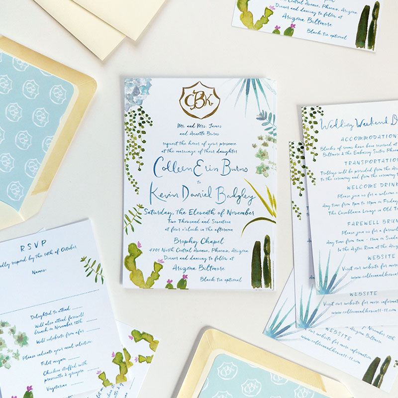 Jolly Edition Blog Post September 2017 blue succulent wedding stationery
