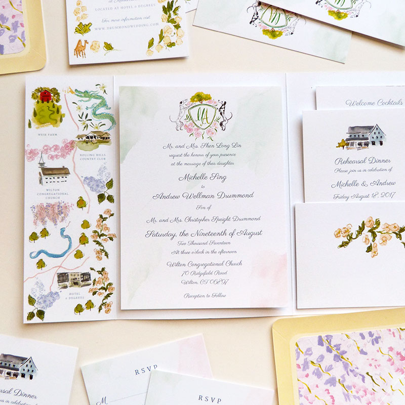 Jolly Edition Blog Post August 2017 wedding invitation, fold-out invitation, map, rsvp, rehearsal invite and details card.