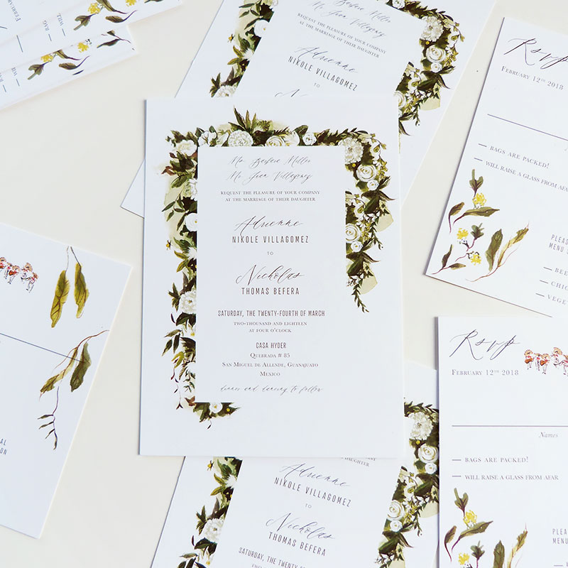 Jolly Edition Blog Post December 2017 Sleek invitation with garland details. Casa Hyder, San Miguel de Allende