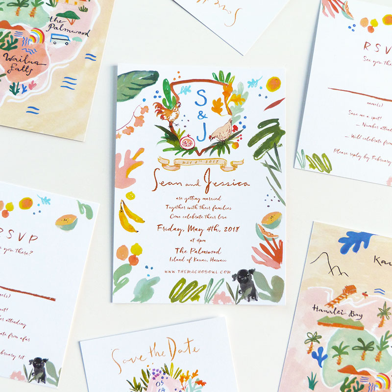 Jolly Edition Blog Post December 2017 The Palmwood on the island of Kauai invitation with rooster crest, rsvp, and save the date. Matisse inspired wedding map.
