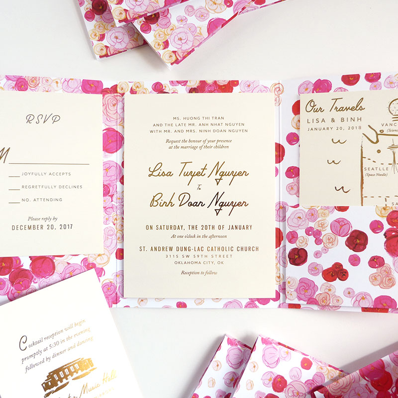 Jolly Edition Blog Post December 2017 Think Pink! wedding invitation, cover with pockets, rsvp, map and cocktails card