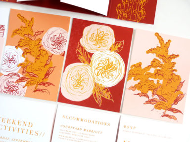 Sophee custom screen printed invitations, New York wedding, bold colors