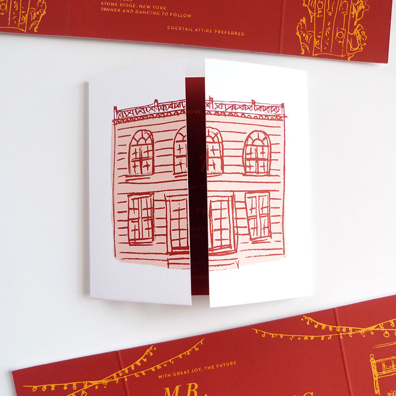 screen printed masterpiece invitation featuring the Elm Rock Inn, NY Invitation, RSVP, rehearsal dinner invite, accommodations and events card