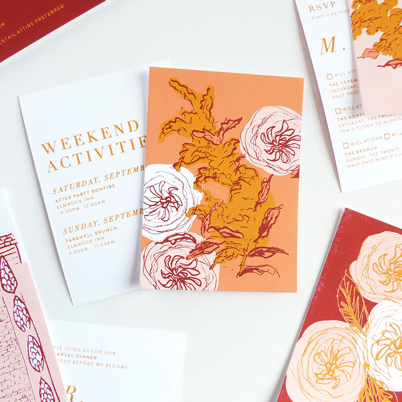 Sophee's entire custom wedding stationery set; gate-fold invitation, rsvp, rehearsal dinner card, accommodation card and weekend activities card. Each small card is double sided to provide one side with edge-to-edge artwork and a side for content.