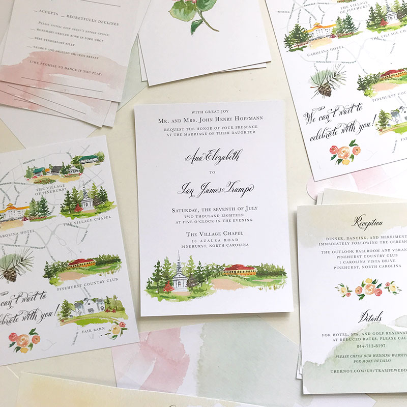 Jolly Edition Blog Post February 2018 watercolor floral custom North Carolina wedding stationery, invite, rsvp, details card, custom liner and wrap