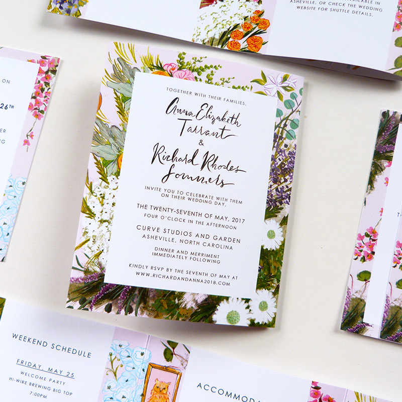 Jolly Edition blogpost April 2018, asheville, NC wedding invitation tri-fold, accordian fold out. Floral, frame illustration with Asheville map