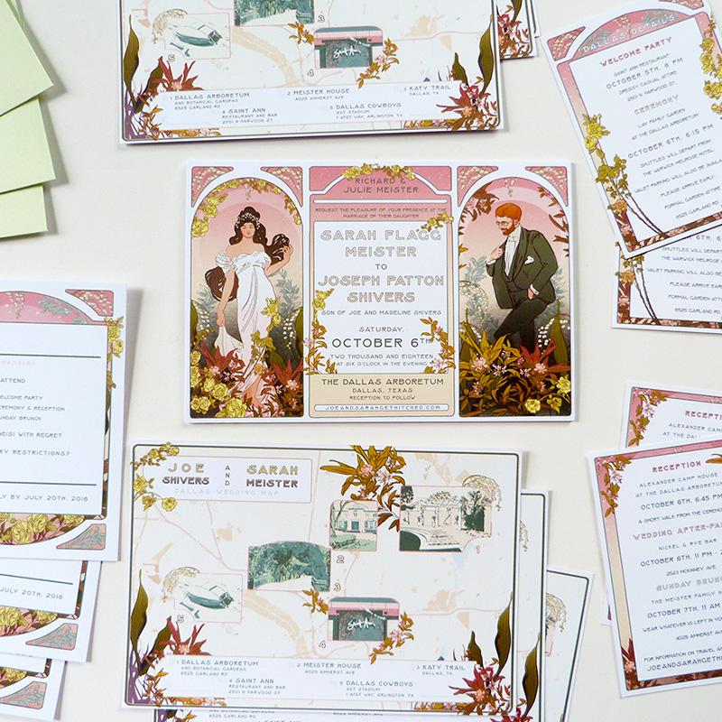 Jolly Edition Blog Post May 2018 Mucha inspired Texas wedding invitations and maps