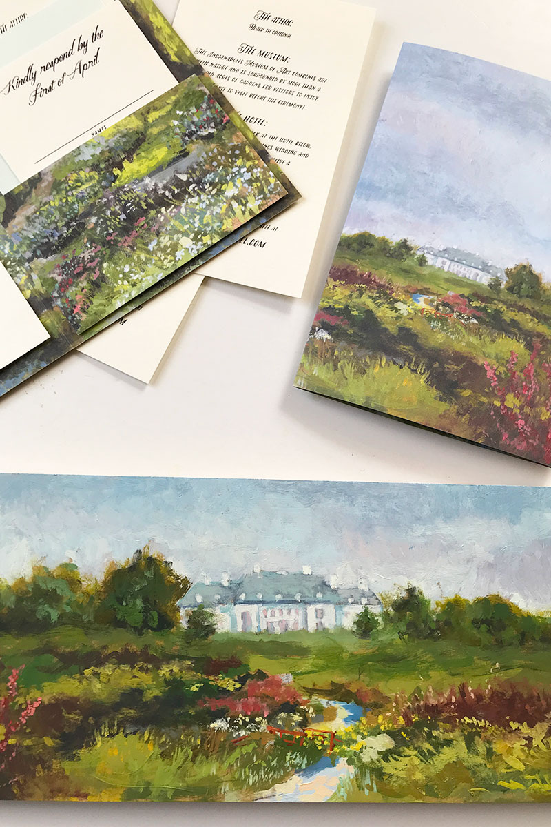 Monet-inspired wedding stationery of the Lilly House / Oldfields at Indianapolis Museum of Art.