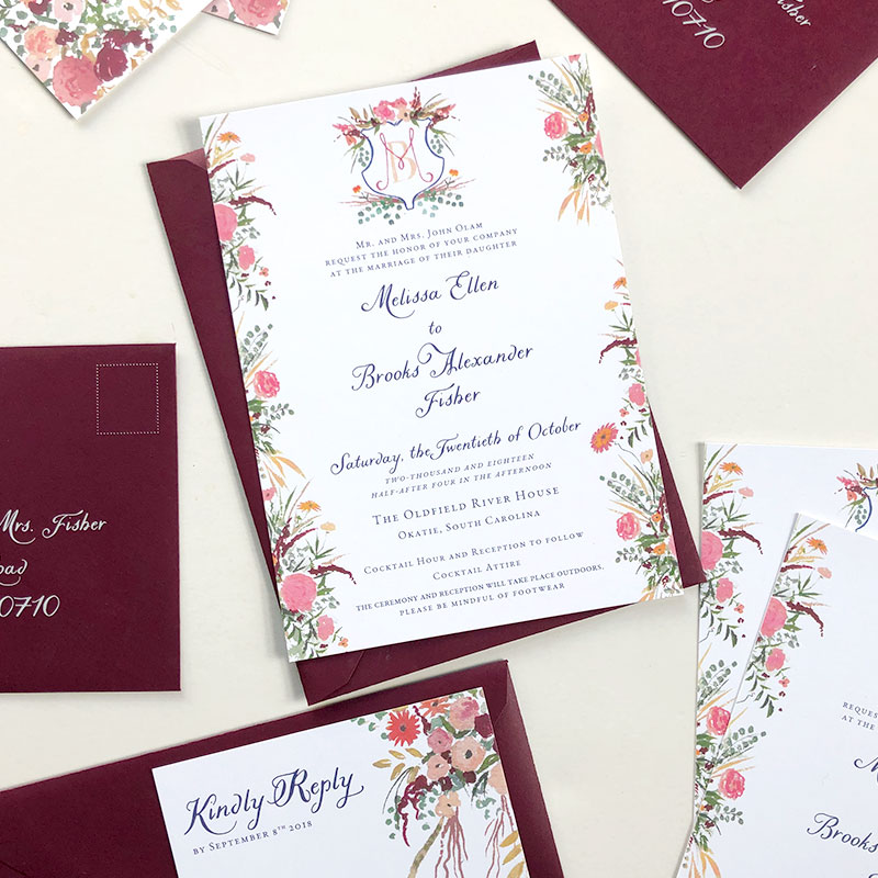 The Oldfield River House, SC wedding stationery