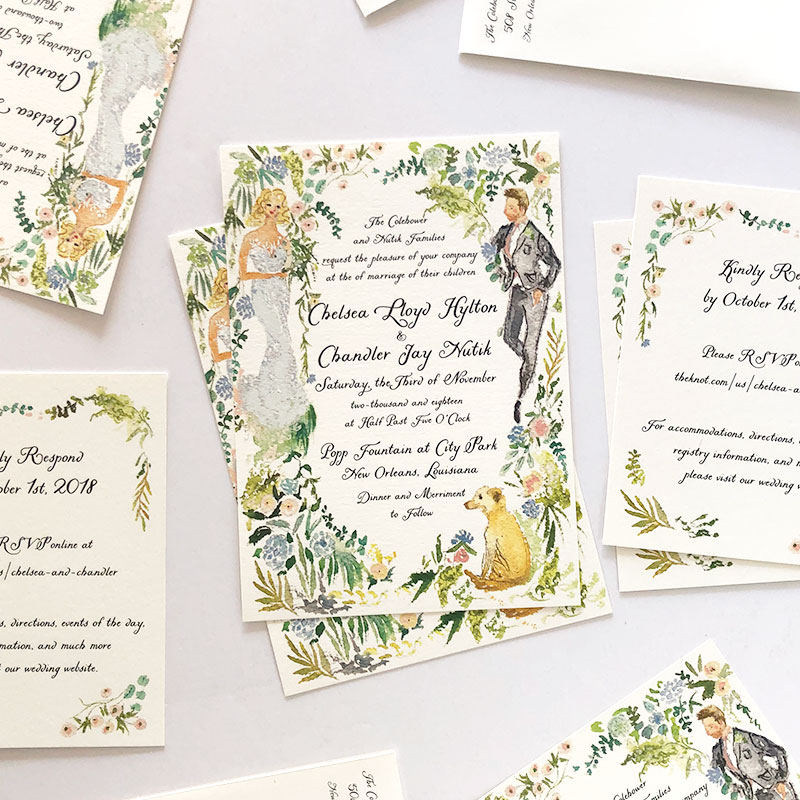 Romantic New Orleans wedding stationery, custom watercolor illustrated