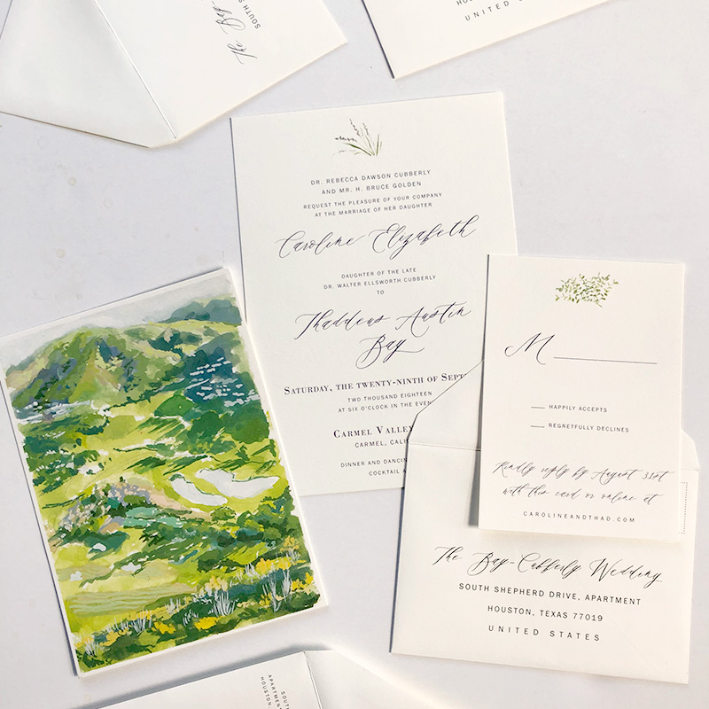 Carmel Valley, CA custom map and wedding stationery