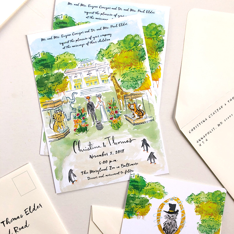 Baltimore Zoo illustrated wedding stationery