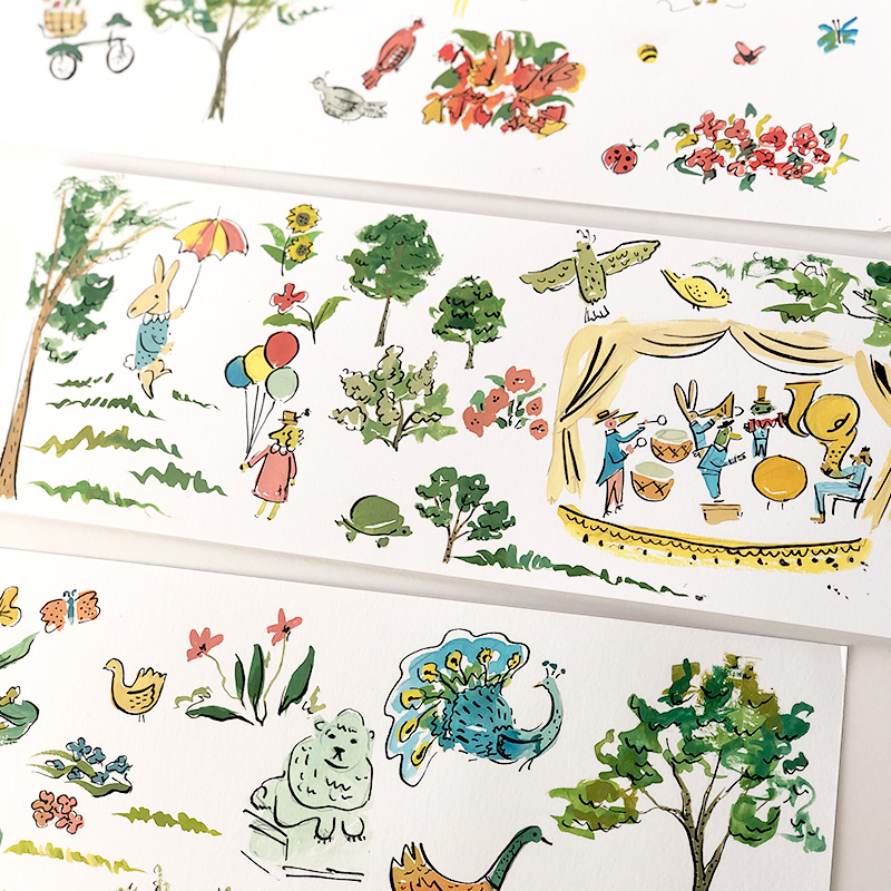 bemelmans inspired illustrations for central park cconservatory womens committee fundraiser invitations