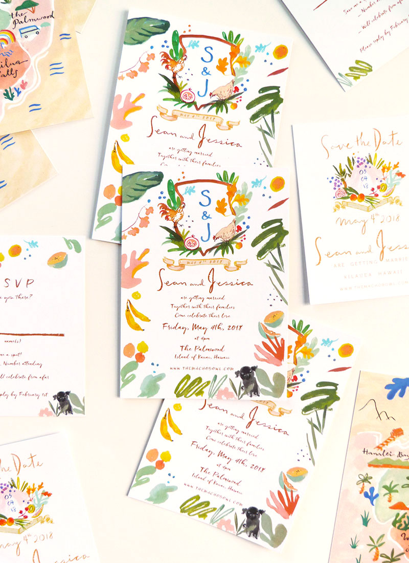 Jessica and Sean custom wedding Save the Date, invitation, rsvp, and map of the Palmwood, Kauai, Hawaii