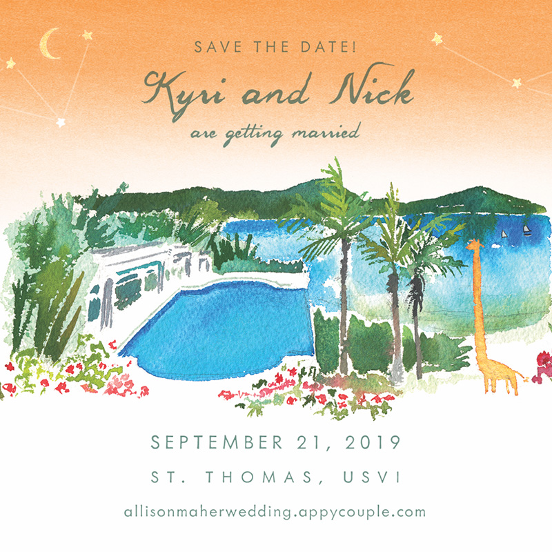 watercolor illustrated St. Thomas, USVI save the date