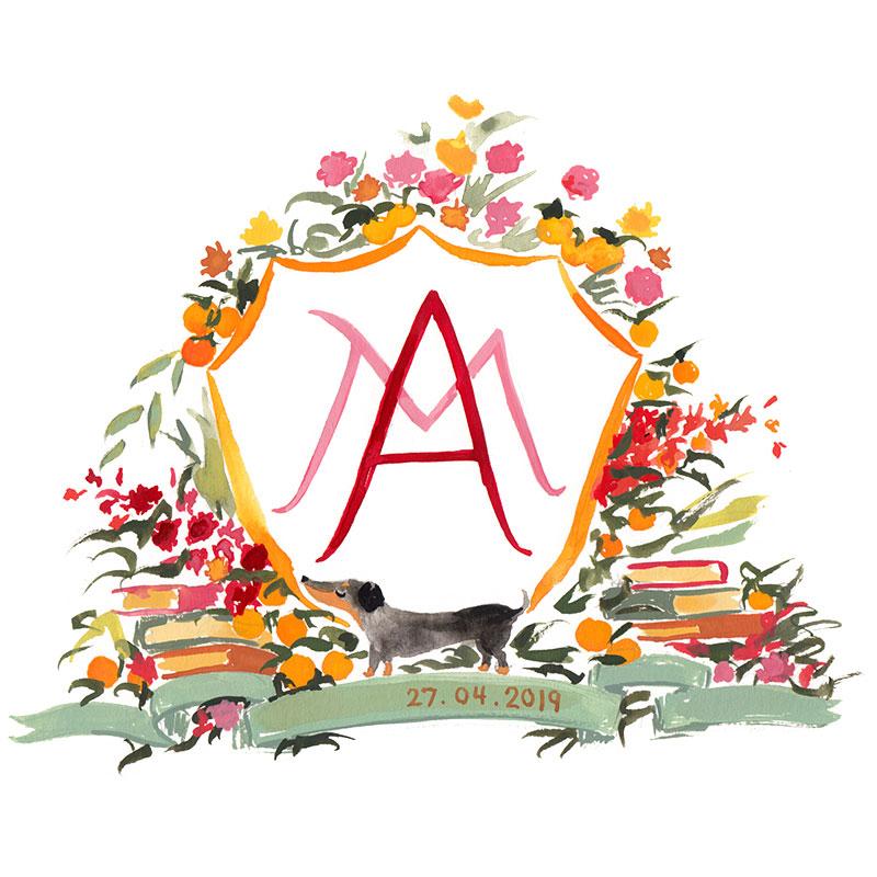 Autumnal illustrated wedding crest
