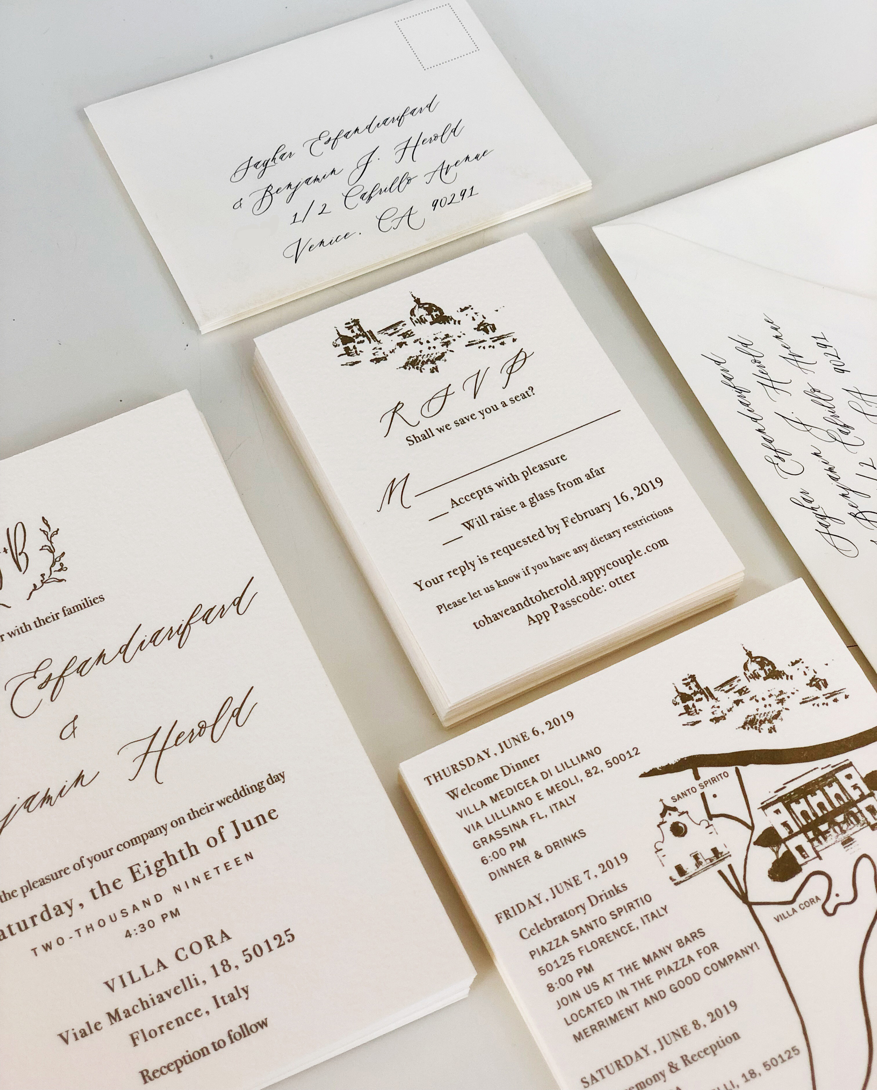 Beautifully simple letterpress invitations, reply card, details card and custom liner for wedding in Florence, Italy.