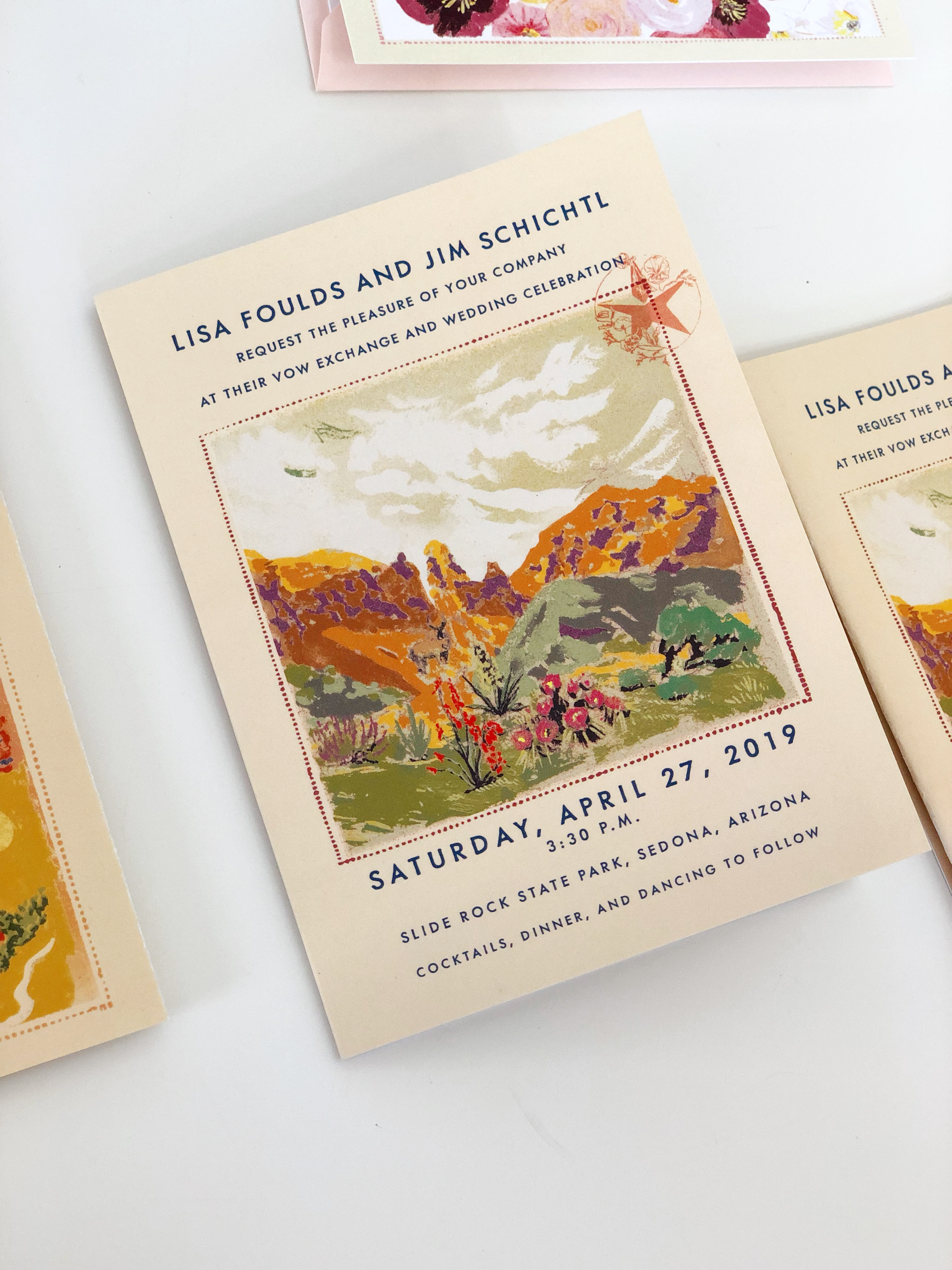 Wood-cut inspired design for Lisa and Jim's Sedona, Arizona wedding. Save the date postcards, tri-fold invitation and thank you card.