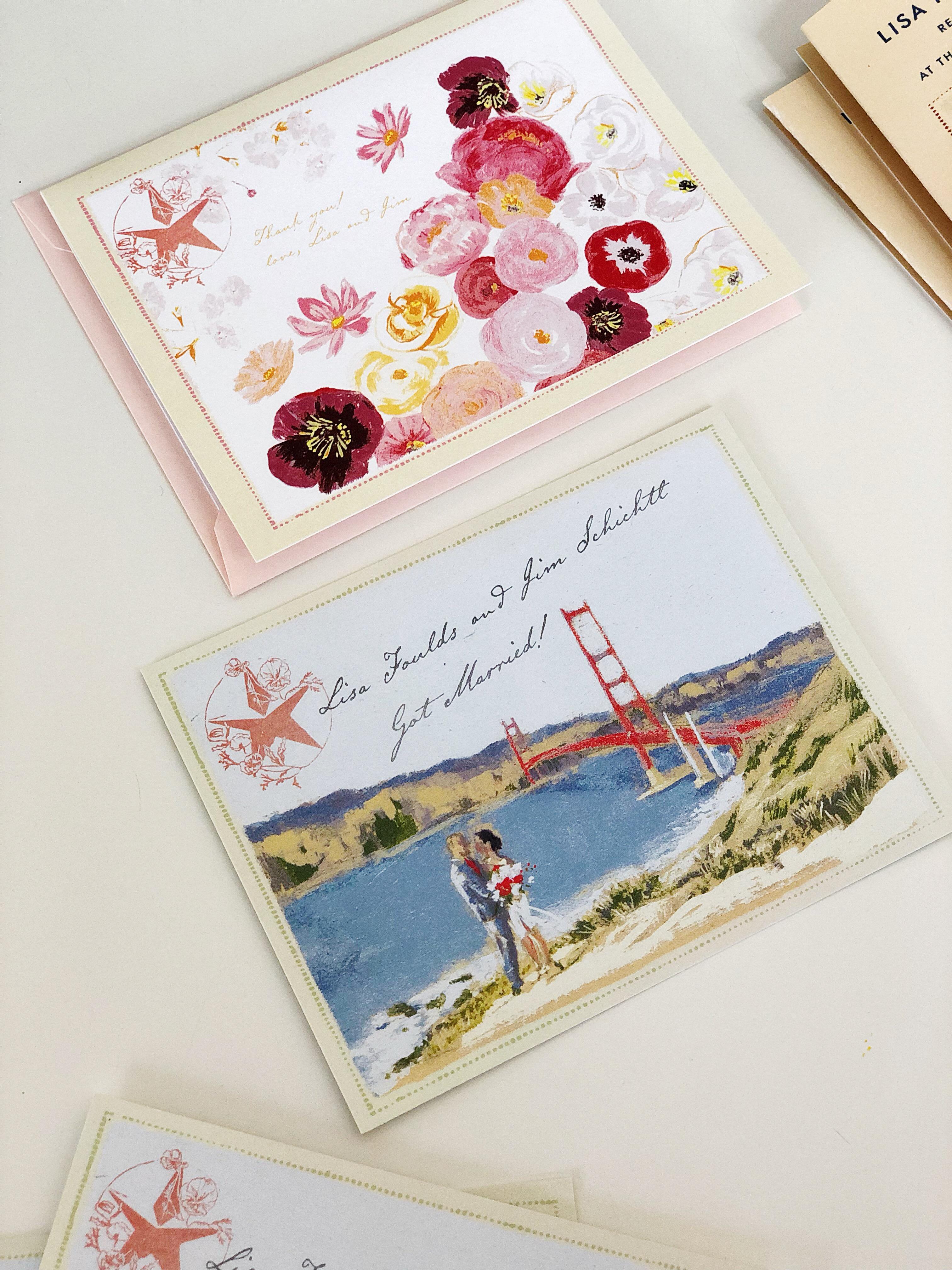 Wood-cut inspired design for Lisa and Jim's San Francisco , golden gate wedding