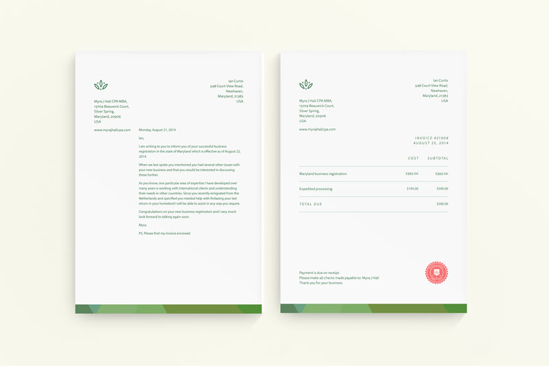 Myra J. Hall CPA MBA Branding Identity and Materials