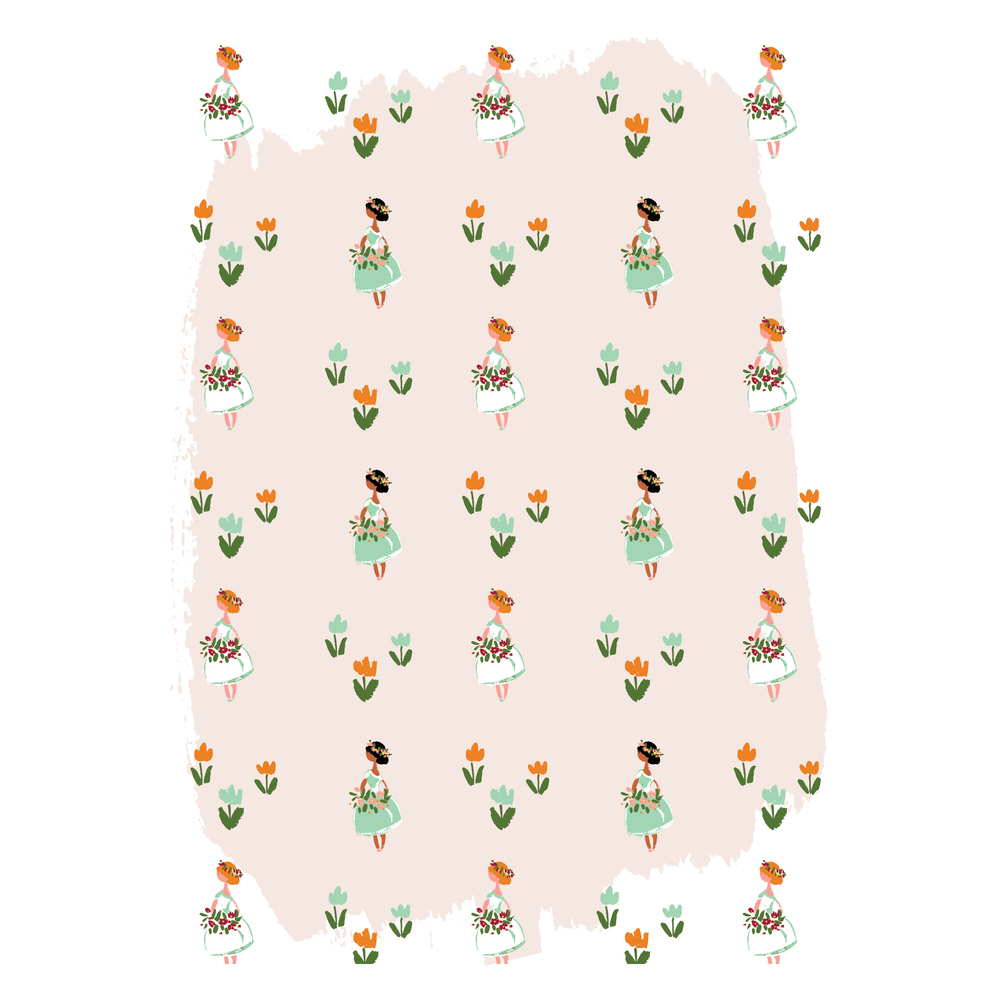flower girls illustrated pattern pink jolly edition