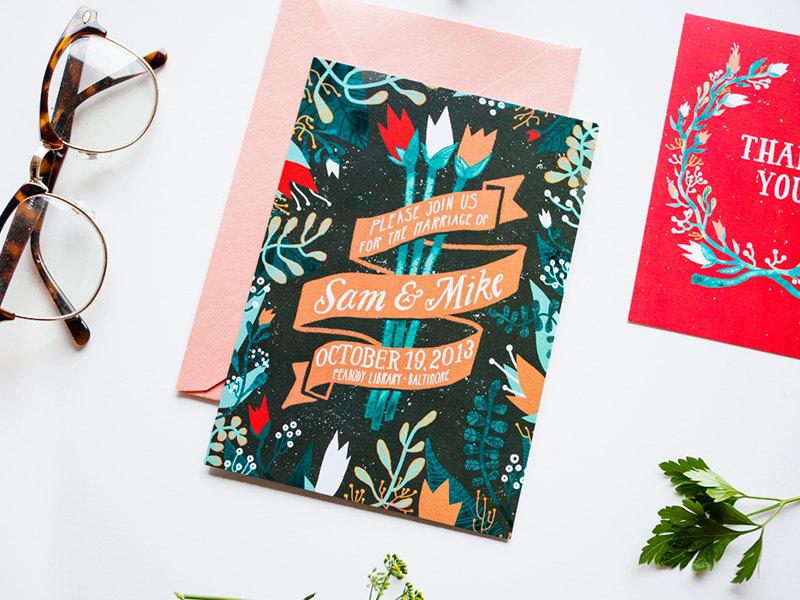 stephanie shafer tulips wedding invitation