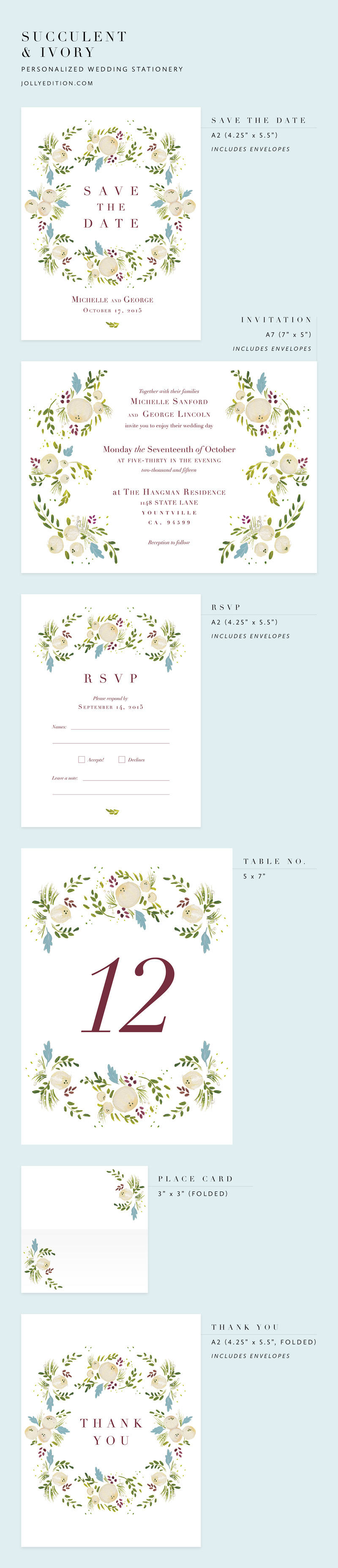 Succulent and Ivory Personalized Wedding Stationery by Laura Shema of Jolly Edition