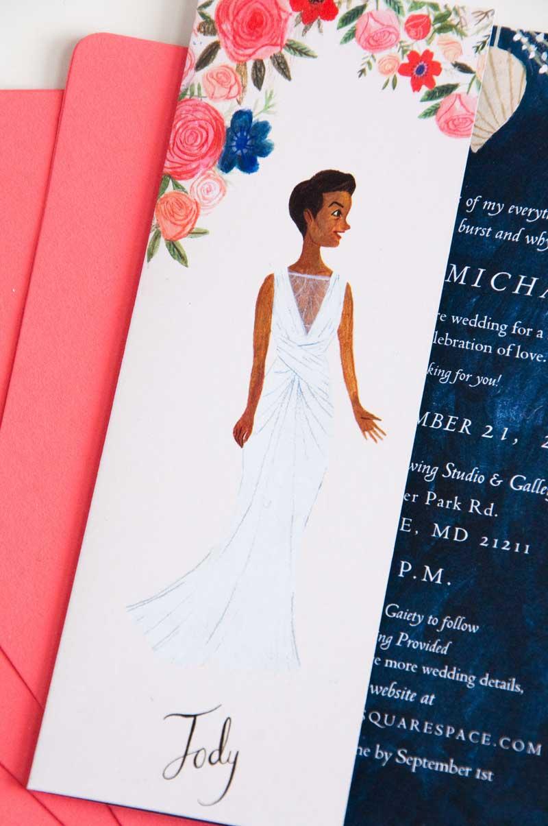 Katie Harnett's illustrated wedding invitation