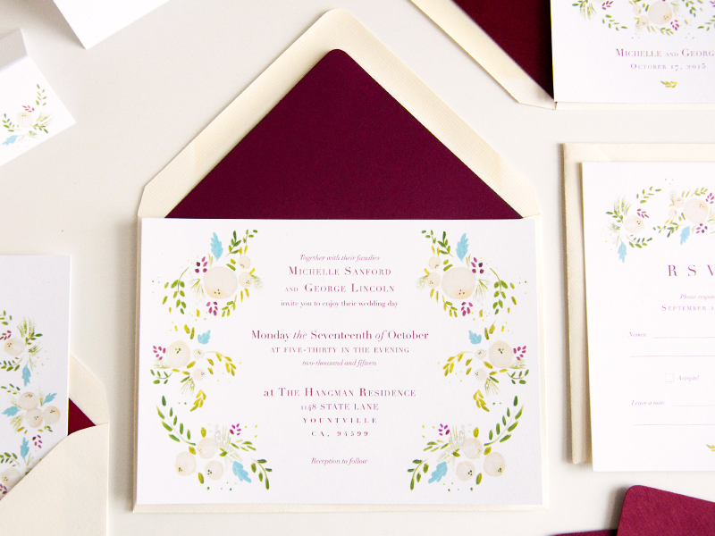 succulent and ivory invite